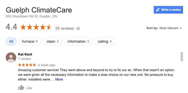 ClimateCare Google Review
